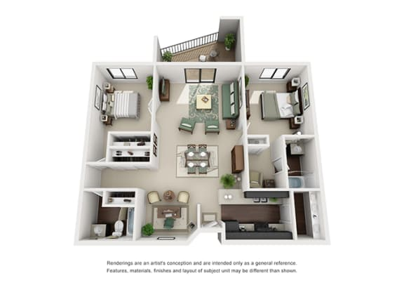 Floor Plan  The Woods of Burnsville Apartment Homes - 2 Bedroom 2 Bath Apartment