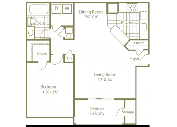 Uptown Buckhead Apartment Homes 1 Bedroom | 1 Bath | 750 Sq. Ft.