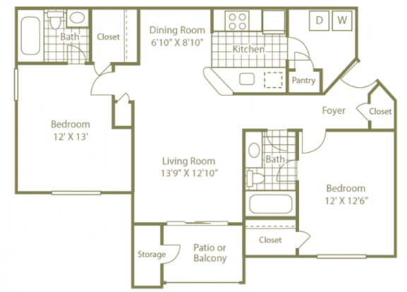 Uptown Buckhead 2 Bedroom | 2 Bath | 950 Sq. Ft.