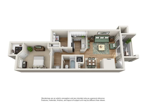 Floor Plan  Verdant Apartment Homes - 1 Bedroom 1 Bath Apartment