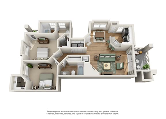 Floor Plan  Verdant Apartment Homes - 2 Bedroom 2 Bath Apartment
