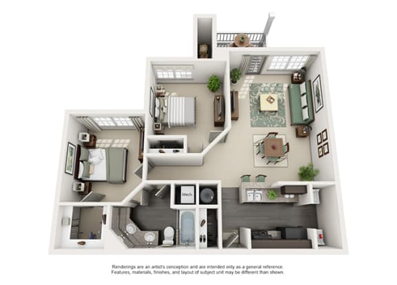 Floor Plan  1000 Spalding Apartment Homes - 2 Bedroom 1 Bath Apartment