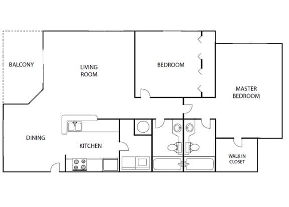 Floor Plan  Featherwood 2 bedroom 2 bath bay club apartment homes Jacksonville florida