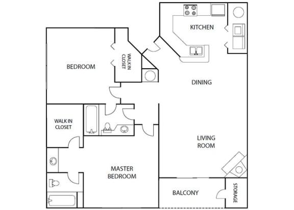Floor Plan  Elm 2 bedroom 2 bath bay club apartment homes Jacksonville florida