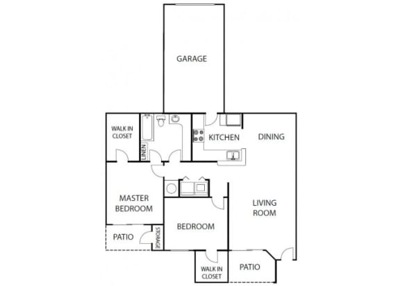 Floor Plan  Camelia 2 bedroom 1 bath bay club apartment homes Jacksonville florida