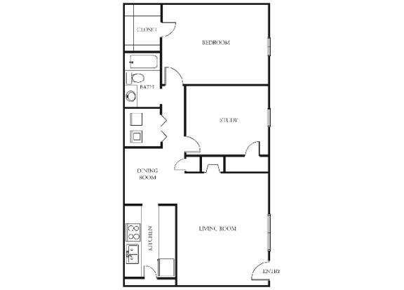 B1 | 2 Bedrooms | 1 Bath | 686 sq. ft.