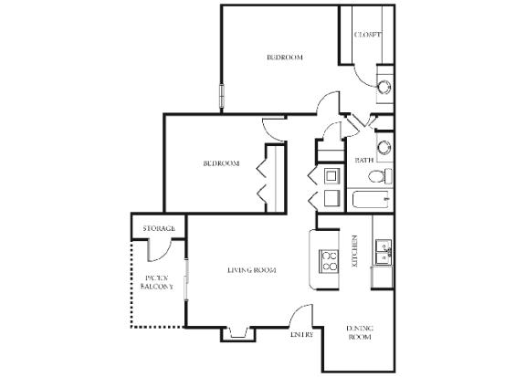 B2 | 2 Bedrooms | 1 Bath | 876 sq. ft.