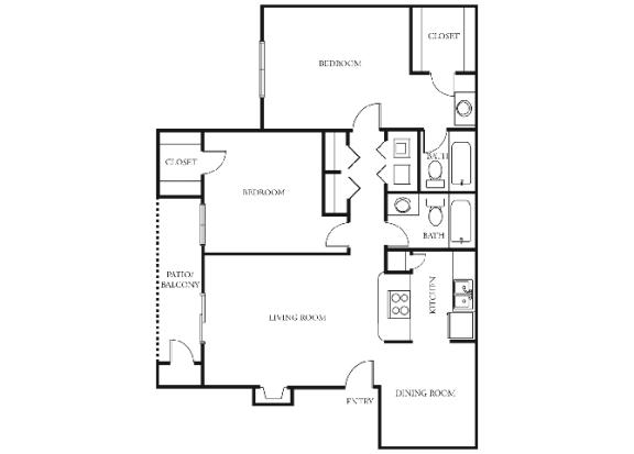 B3 | 2 Bedrooms | 2 Baths | 963 sq. ft.