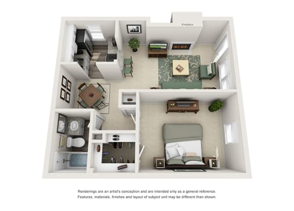 A1 | 1 Bedroom | 1 Bath | 625 sq. ft.