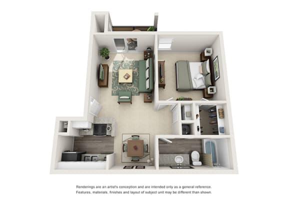 A3 | 1 Bedroom | 1 Bath | 630 sq. ft.