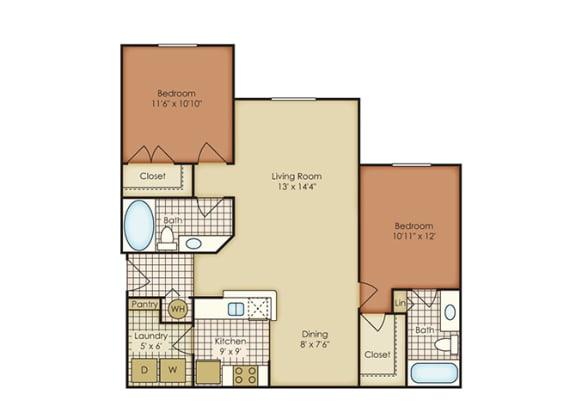 Iris 2 Bedroom 2 Bath - Courtney Meadows Apartments Jacksonville, Florida