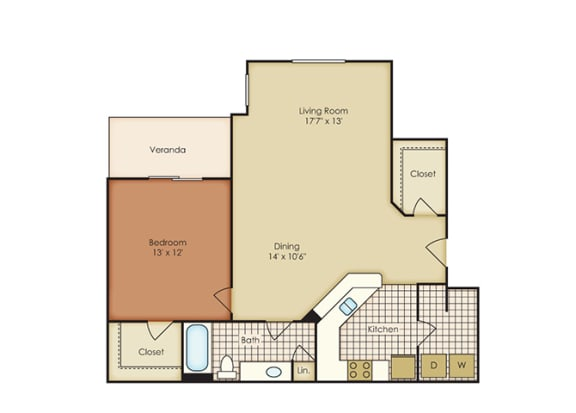 Primrose 1 Bedroom 1 Bath - Courtney Meadows Apartments Jacksonville, Florida