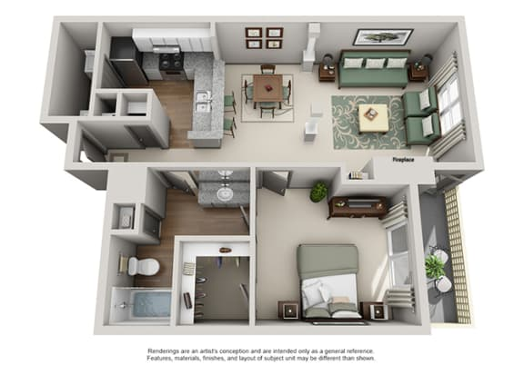 Floor Plan  Crosstown at Chapel Hill Apartment Homes - 1 Bedroom 1 Bath Apartment