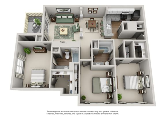 Floor Plan  Crosstown at Chapel Hill Apartment Homes - 3 Bedroom 2 Bath Apartment