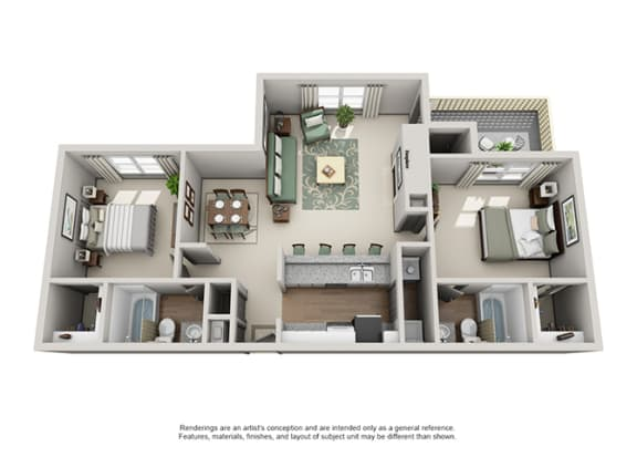 Floor Plan  Crosstown at Chapel Hill Apartment Homes - 2 Bedroom 2 Bath Apartment