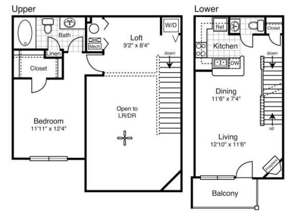 A6 - One Bedroom One and a Half Bath