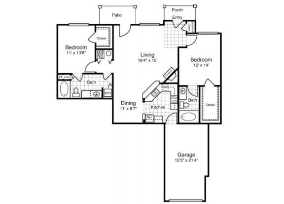 B5 - Two Bedroom  Two Bath