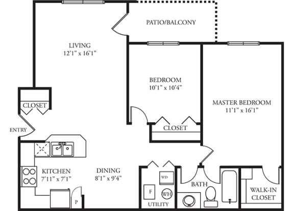 Hampton Floor plan - 2 Bedroom 1 Bath - Green Trails Apartment Homes Lisle, IL