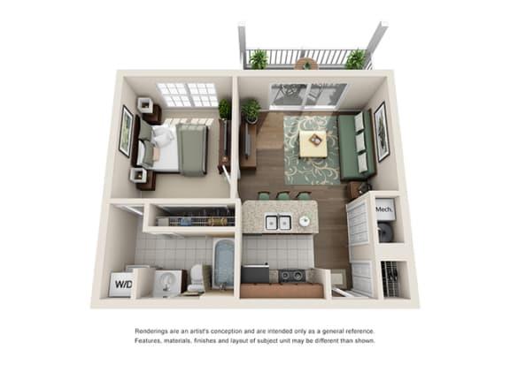 Nottingham Floor plan - 1 Bedroom 1 Bath - Green Trails Apartment Homes Lisle, IL