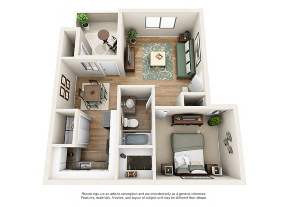 Floor Plan  Heritage Pointe Apartment Homes 1 Bedroom 1 Bath Apartment