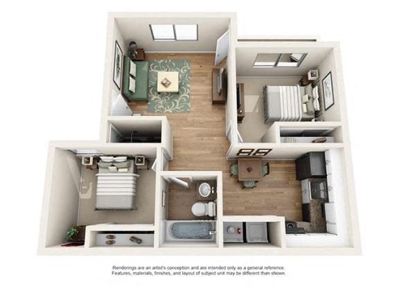 Floor Plan  Heritage Pointe Apartment Homes  2 Bedroom 1 Bath Apartment