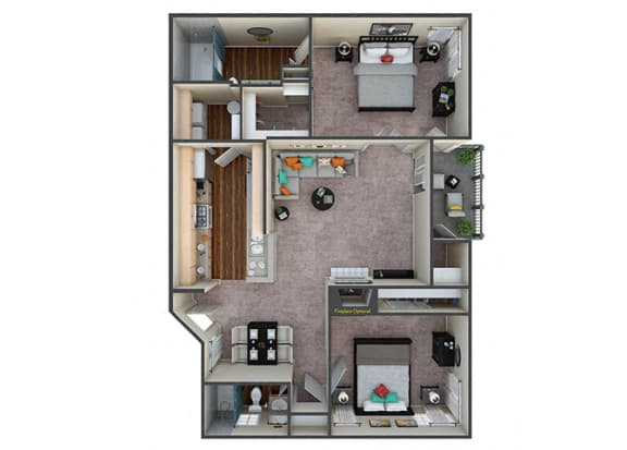 Floor Plan  Indigo Creek Oasis 2Bed/2Bath
