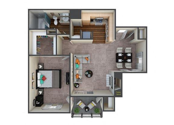 Floor Plan  Indigo Creek|Retreat|1Bed/1Bath