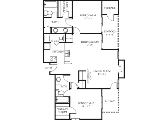 Daisy Floor plan Martin's Point Apartment Homes