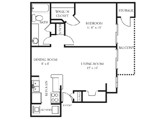 Lilac Floor plan Martin's Point Apartment Homes