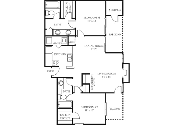 Rose Floor plan Martin's Point Apartment Homes