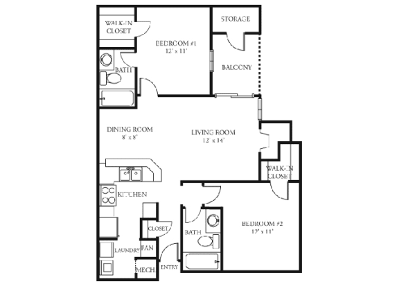 Tulip Floor plan Martin's Point Apartment Homes