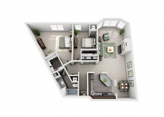 Meridian Pointe Apartment Homes - 2 Bedroom 1 Bath Apartment