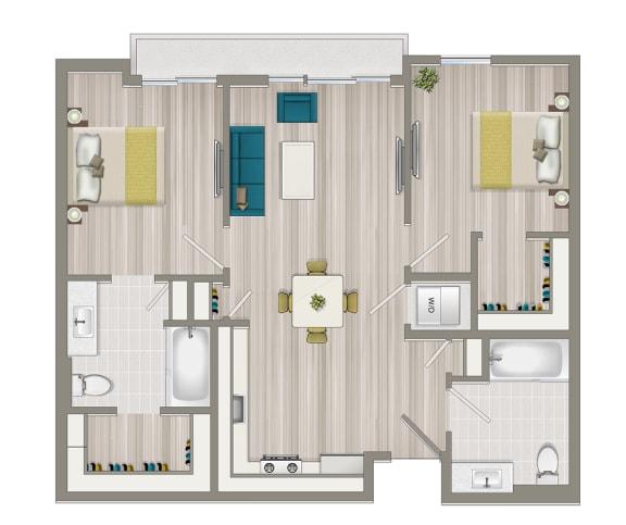 Floor Plan  Two Bedroom Two Bath Floor Plan at Concourse, Los Angeles, CA, 90045