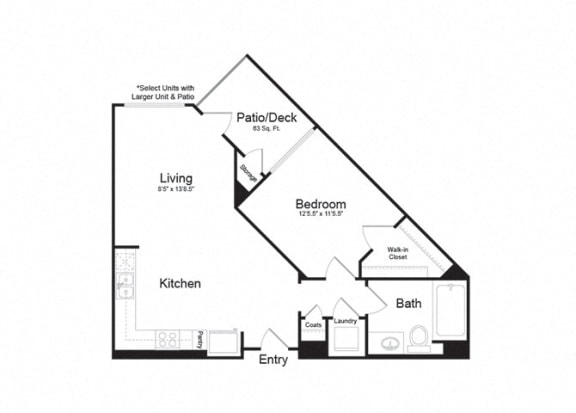 Floor Plan  Clarendon Apartments|Ventura 1|1x1 705sf