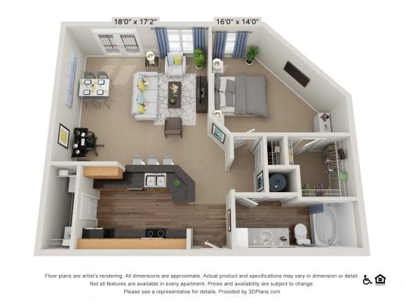 B10 1 Bed 1 Bath Floor Plan