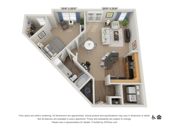 B11 1 Bed 1 Bath Floor Plan