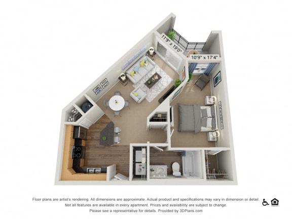 B2 1 Bath Floor Plan