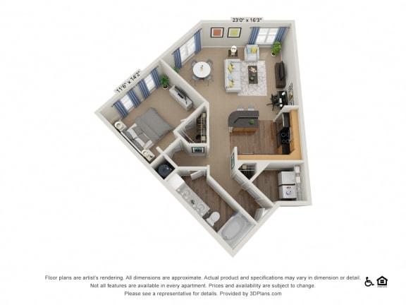 B6 1 Bed 1 Bath Floor Plan