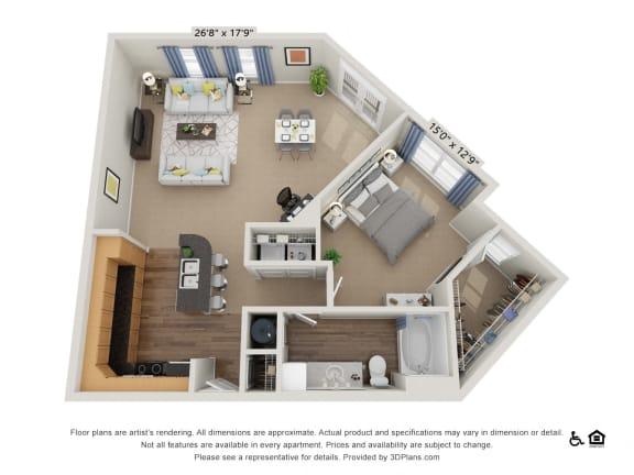 C2 1 Bed 1 Bath Floor Plan