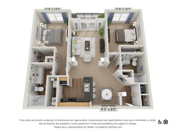 E1 2 Bed 2 Bath Floor Plan