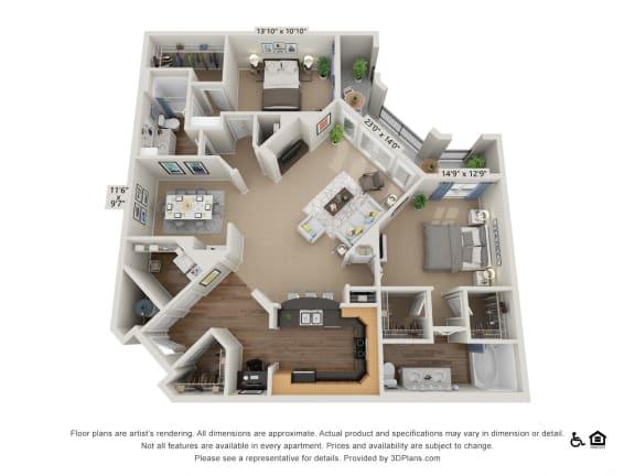 E3 2 Bed 2 Bath Floor Plan