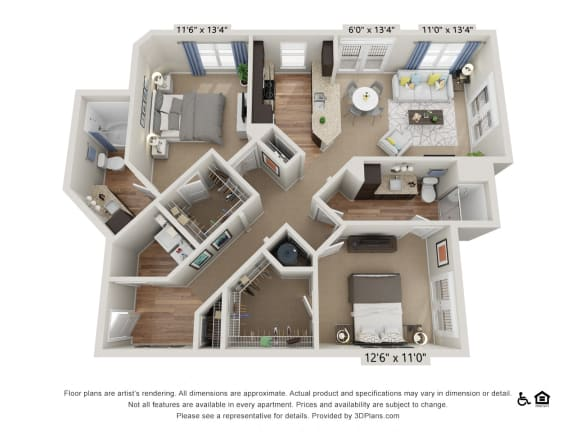 Floor Plan  E6 2 Bed 2 Bath Floor Plan