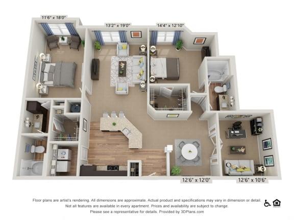 Floor Plan  F2 2 Bed 2 Bath Floor Plan