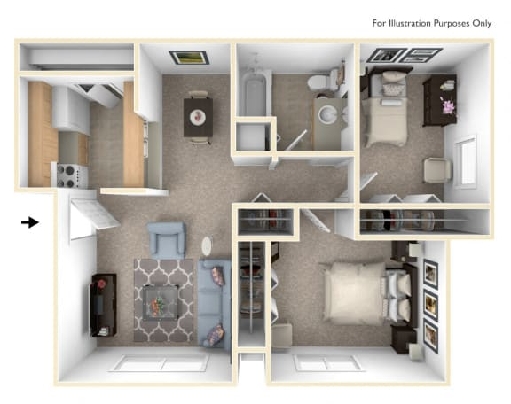 Modified Two Bedroom Floor Plan at West Wind Apartments, Indiana