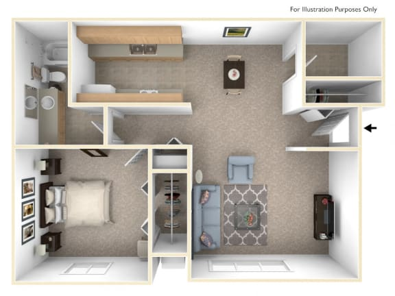 Seville One Bedroom Floor Plan at West Wind Apartments, Fort Wayne, 46808