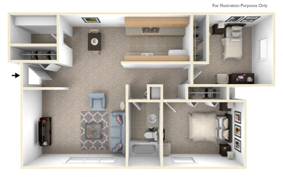 Seville Two Bedroom Floor Plan at West Wind Apartments, Fort Wayne
