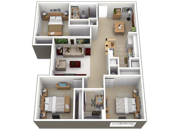 Floor Plan  C1 Floorplan at Brenton at Abbey Park Apartments