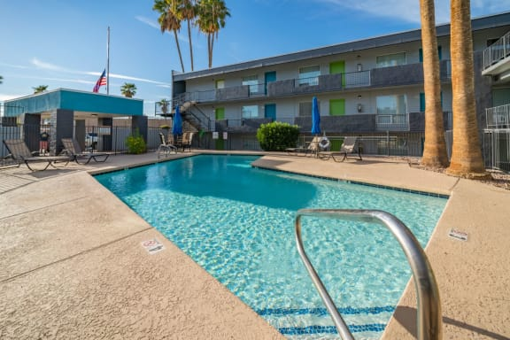pool and pool patio at Radius Apartments in Phoenix AZ