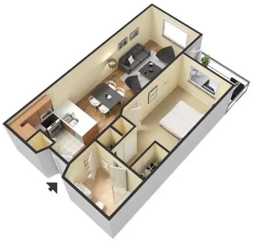 Floor Plan  One Bed One Bath at 55+ FountainGlen Goldenwest Senior Apartments, Westminister, CA
