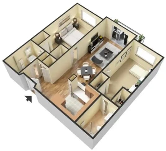 Floor Plan  Two Bedroom Two Bath at 55+ FountainGlen Goldenwest Senior Apartments, Westminister